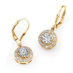 2.34 TCW Round Cubic Zirconia Halo Drop Earrings in 18k Gold over Sterling Silver on PalmBeach Jewelry