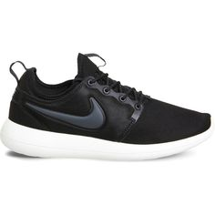 Nike Roshe Two mesh trainers (1.673.675 VND) ❤ liked on Polyvore featuring shoes, sneakers, mesh sneakers, nike footwear, black mesh shoes, black trainers and kohl shoes
