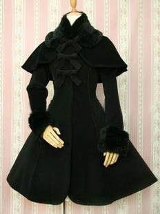 Black Classic Princess With Fur Collar Lolita Coat, ocrun.com