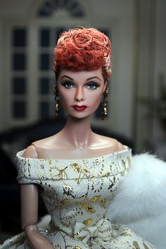 Here is a repainted Mattel Lucy restyled and repainted by the extremely talented Noel Cruz I Love Lucy Dolls, I Love Lucy Show, Beautiful Barbie Dolls, Lucille Ball, Celebrity Barbie Dolls, Madeline Kahn, Lucy And Ricky, Desi Arnaz, Doll Repaint
