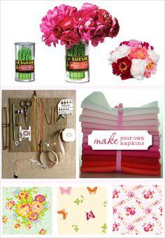 DIY, Do It Yourself, Make your own napkins, napkins, wedding flowers, Vases, cans, Arrangement