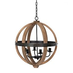 Brighten up your space with some industrial flair. The mixed materials of our Wooden and Metal Sphere Chandelier make it the perfect modern industrial piece. Orb Pendant Light, Chandelier Pendant Lights, Wooden Chandelier, Chandeliers, Wire Installation, Shine Your Light, Lamps For Sale, Lighting Sale, Wood And Metal