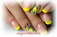 дизайн ногтей желтым лаком фото 1