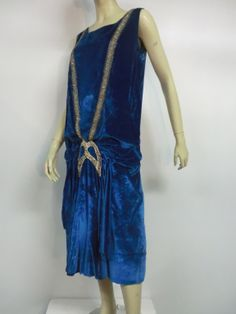 Art Deco Dress: ca. 1920's, silk velvet, beading, rhinestones, dropped waist.