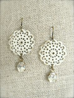 Antiqued brass cream filigree earrings with vintage by sweetsimple, $18.00  Weddings, bridal or bridesmaid gifts. Shabby chic vintage style.