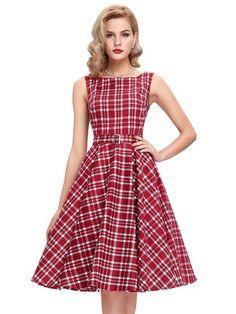 Buy Vintage Sleeveless Plaid Midi Dress With Sash & Dresses - at Jollychic