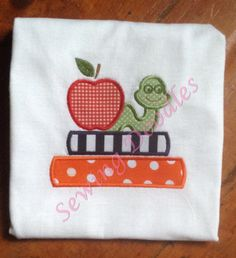Back to School Apple and Worm on Books Applique T-shirt by SewingDoodles on Etsy