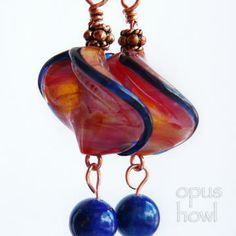Orange Wave with Lapis earrings http://www.zibbet.com/OpusHowl/artwork?artworkId=1684588 #lampwork #lapis #earrings