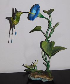 Vintage ~Boehm~ Racquet-Tailed Hummingbird w/ Morning Glory Bird Figurine #40318