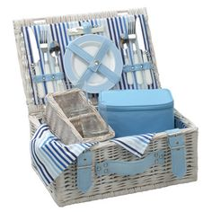 picnic basket something like this with the storage in the lid