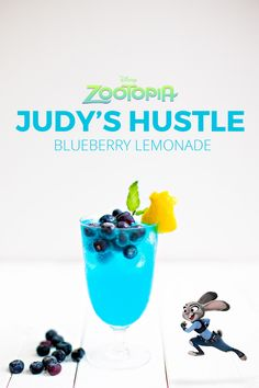 Judy's Hustle {A Disney Inspired Cocktail from Zootopia} Blueberry Lemonade Cocktail & Mocktail