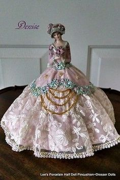 Porcelain Half Doll, Pincushion Dresser Doll, Hand crafted OOAK collectible doll