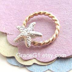 Starfish cartilage earrings Starfish rook earrings helix earrings nose rings, ONE hoop Gold filled via Etsy