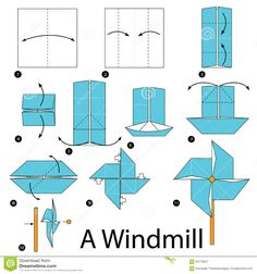 Step By Step Instructions How To Make Origami A Windmill. Stock Vector - Illustration of folded, symbol: 68770561 Origami Art Mural, Origami Windmill, Computational Thinking, Cut Out Art, How To Make Origami, Origami Tutorial, Step By Step Instructions, Graphic Illustration, Paper Crafts