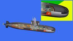 """Submarino SBR-1 """"Riachuelo"""" recebe cradle de vante."""