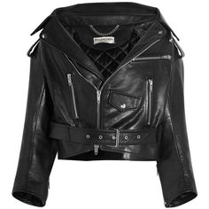 Balenciaga Swing leather biker jacket (€2.330) ❤ liked on Polyvore featuring outerwear, jackets, balenciaga, leather rider jacket, real leather jackets, quilted motorcycle jacket, genuine leather jackets and leather jackets