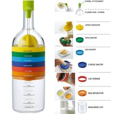 Locisne 8 in 1 Kitchen Tool, Multipurpose Function Plastic Bin Bottle Essential Kitchen Cooking Tools