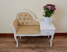 Beautiful Vintage Phone Seat Everything Has A Story - Vintage & Upcycled