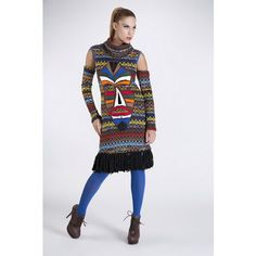 "Knitted dress with fringes and separate sleeves and handmade applique ""Ethnic Mask"""