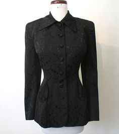Amazing 1940's Film Noir black on black textured Jacket hourglass Hollywood chic…