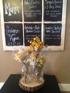 The wooden circle for the mason jar center pieces & I love the idea of the window -- either chalkboard or glass panes... Have decided for what yet, though!