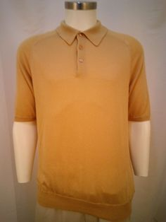 Tom James Silk Cashmere Beige Short Sleeve Men's Med Polo Shirt #TomJames #ButtonFront