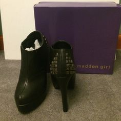 NWT madden girl black booties NWT madden girl black booties with stud detailing on the back; 5 inch heel with 1 inch platform in front; side stretch panel facing inside Madden Girl Shoes Ankle Boots & Booties