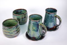 Each one featured in my Forest Green glaze Handmade Pottery, Handmade Gifts, Green Mugs, Pottery Mugs, Contemporary Ceramics, Geek Girls, Mug Shots, Glaze, Etsy Seller