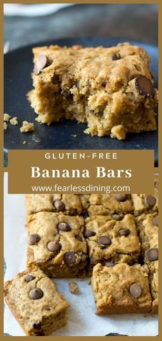These moist gluten free banana bars are full of chocolate chips and banana flavor. These monkey bars make a great dessert or snack! Add nuts if you like these cookie bars are a great snack. No refined sugar dairy-free too! Dairy Free Deserts, Gluten Free Sweets, Gluten Free Cookies, Gluten Free Baking, Dairy Free Recipes, Gluten And Dairy Free Desserts Easy, Gluten Free Bars, Vegan Recipes, Banana Dessert Recipes