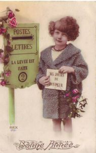 vintage French postcard with child & letterbox