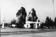 Gas station at Devonshire and Balboa, circa 1930s. The Eckels gas station and coffee shop were located on this corner. San Fernando Valley History Digital Library.