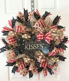 Dog Wreath, Dog Deco Mesh Wreath, Front Door Wreath, Beware of Dog Kisses, Dog Bone Wreath Christmas Mesh Wreaths, Valentine Day Wreaths, Outdoor Christmas Decorations, Easter Wreaths, Valentines Diy, Holiday Wreaths, Plaid Christmas, Deco Mesh Wreaths, Burlap Wreaths