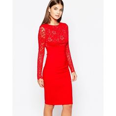 City Goddess Long Sleeve Midi Dress with Lace Sleeves ($51) ❤ liked on Polyvore featuring dresses, red, lace dress, red bodycon dress, midi dress, long sleeve body con dress y bodycon dress