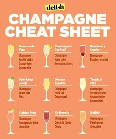 Genius Hacks That Will Change How You Eat Breakfast Make yourself a freaking delicious brunch beverage on the weekends with this champagne cheat sheet.Make yourself a freaking delicious brunch beverage on the weekends with this champagne cheat sheet. Champagne Drinks, Cocktail Drinks, Prosecco Cocktails, Champagne Brunch, Sweet Champagne, Easy Cocktails, Sangria, Simple Cocktail Recipes, Champaign Cocktails