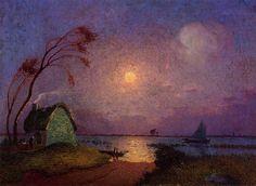 Ferdinand du Puigaudeau - Cottage in the Moonlight in Briere
