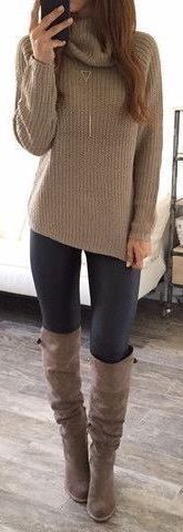 #Winter #Outfits / Taupe Tutleneck Sweater + Matching Boots