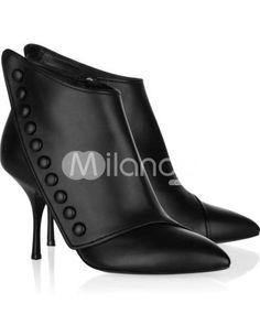 Fashion Black PU 2 2/5'' High Heel Womens Short Boots ($43.99)