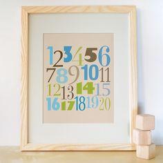 Kids Art Print, Kids Wall Art, Nursery Decor, Nursery Art. 8x10 Count to 20 Print - Blue/Green on Etsy, $24.00