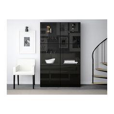 BESTÅ Vitrine - schwarzbraun/Selsviken Hochglanz/Klarglas schwarz, Schubladenschiene, sanft schließend - IKEA