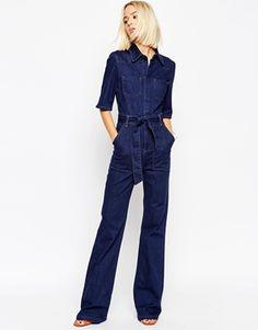 ASOS | ASOS Denim Patch Pocket Flared Jumpsuit With Belt at ASOS