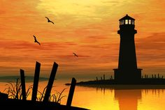 Another gorgeous lighthouse painting Watercolor Landscape, Landscape Paintings, Watercolor Paintings, Lighthouse Painting, Silhouette Painting, Landscape Silhouette, Pastel Art, Pictures To Paint, Painting Techniques