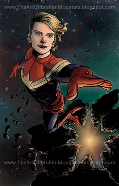 http://ibrahimmoustafa.tumblr.com/post/97897637347/i-realized-that-in-the-handful-of-years-that-ive  Carol Danvers by Ibrahim Moustafa.
