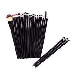 Essential Black Synthetic Hair Cosmetic Eye Makeup Brushes Kit(20pc-set), 38% discount @ PatPat Mom Baby Shopping App