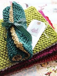 Seed stitch placemats--but I'm thinking hot pads, too.  Bright colors--perfect gifts!