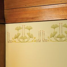 """Ginkgo Stencil Exclusive Item! The famous ginkgo tree by Wright's Oak Park Home & Studio offered the architect tremendous inspiration throughout his career. It also inspired our exclusive stencil which can be used to adorn walls, canvases or anything else your creativity dictates. Washable and reusable. Instructions included. 22""""w x 8""""h. $22"""