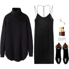 A fashion look from December 2013 featuring black slip dress, oversized sweaters and black leather booties. Browse and shop related looks.
