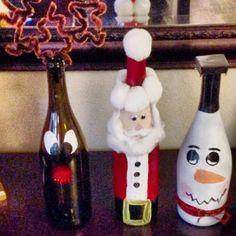 Christmas wine bottles DIY