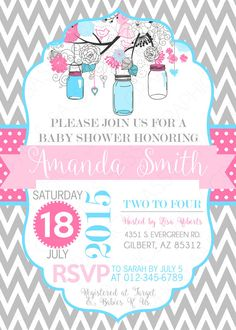 Mason Jars Baby Shower Invitation Girl or by SassyGraphicsDesigns
