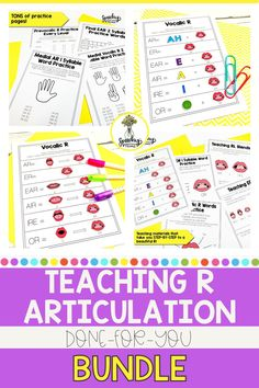 Are you having trouble eliciting R blends, vocalic R, or prevocalic R? Have no fear! Teaching R makes it easy! This is a step-by-step, easy-to-follow, approach to correct that darn R. It includes a ton of help for vocalic r and r blends, as well as custom visuals, informational handouts, and homework sheets for added support to take the stress out of treating R! Articulation Therapy, Articulation Activities, Play Based Learning, Learning Games, Speech Room, Speech Pathology, Speech Therapy Activities, Teacher Resources, Homework