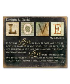 Look what I found on #zulily! 'Love Is Patient' Personalized Wrapped Canvas #zulilyfinds